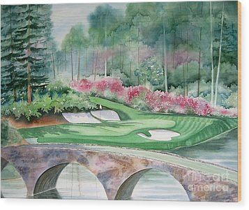 Augusta National 12th Hole Wood Print by Deborah Ronglien