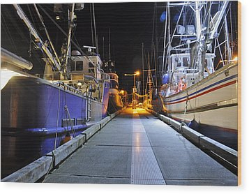 Wood Print featuring the photograph Auke Bay By Night by Cathy Mahnke