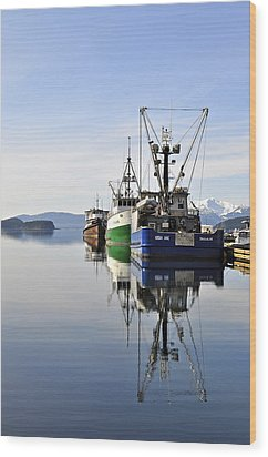Auke Bay Reflection Wood Print by Cathy Mahnke
