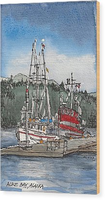 Wood Print featuring the mixed media Auke Bay  by Tim Oliver