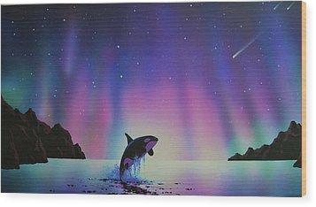 Aurora Borealis And Whale Wood Print