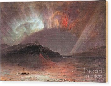 Aurora Borealis By Frederick Edwin Church Wood Print