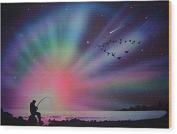 Aurora Borealis Gone Fishing Wood Print
