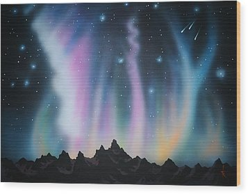 Aurora Borealis In The Rockies Wood Print