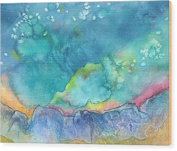 Wood Print featuring the painting Aurora Borealis by Nancy Jolley