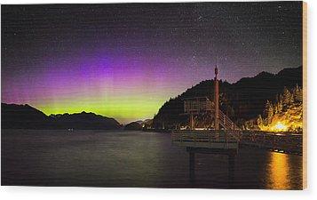 Aurora Borealis Near Vancouver Wood Print by Alexis Birkill