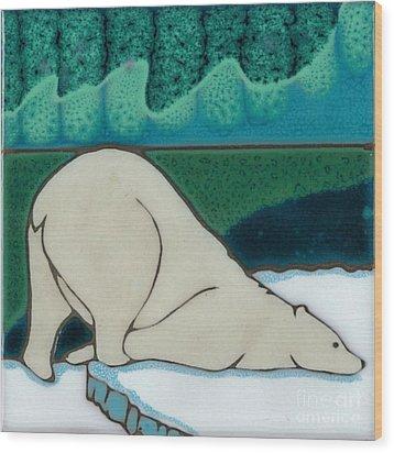 Aurora Borealis Polar Bear Wood Print by Elany  Prusa