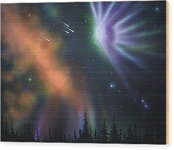 Aurora Borealis With 4 Shooting Stars Wood Print