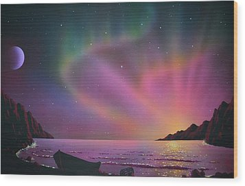 Aurora Borealis With Lobster Cage Wood Print