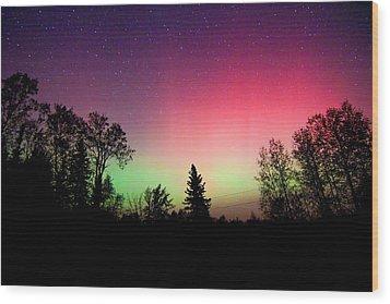 Aurora In Autumn Wood Print