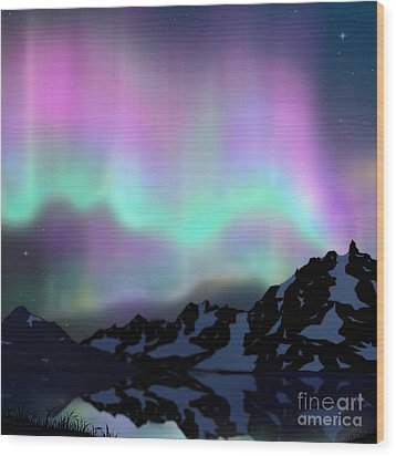 Aurora Over Lake Wood Print by Atiketta Sangasaeng