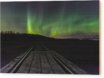 Aurora Railroad Tracks Wood Print by Sam Amato