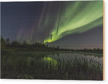 Aurora Waves Wood Print