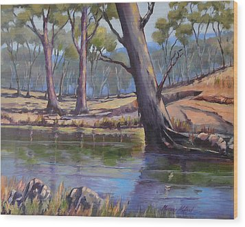 Wood Print featuring the painting Aussie Billabong by Murray McLeod