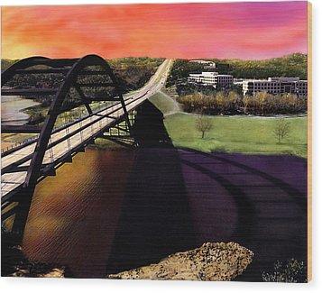 Austin 360 Bridge Wood Print by Marilyn Hunt