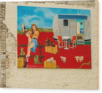 Austin - Camping Mural Wood Print by Allen Sheffield