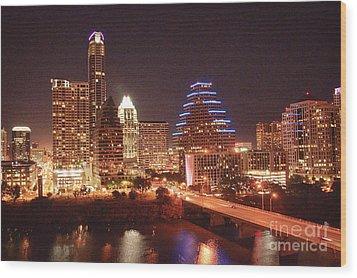 Austin Lights The Night Wood Print