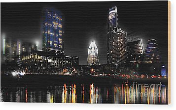 Austin Night Skyline Reflections  Wood Print by Gary Gibich