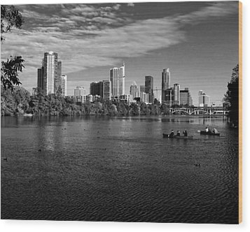 Austin Skyline Bw Wood Print by Judy Vincent