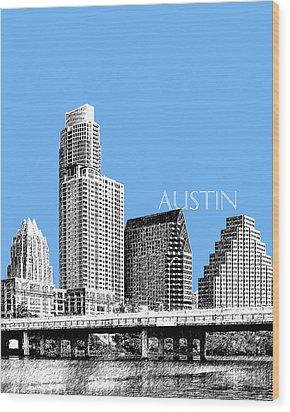 Austin Skyline - Sky Blue Wood Print by DB Artist