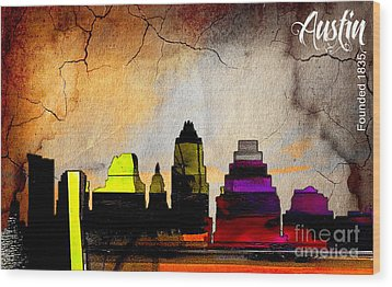 Austin Skyline Watercolor Wood Print