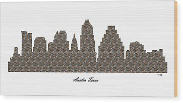 Austin Texas 3d Stone Wall Skyline Wood Print