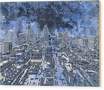 Austin Texas Abstract Panorama 5 Wood Print