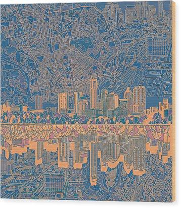 Austin Texas Skyline 2 Wood Print