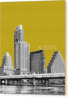 Austin Texas Skyline - Gold Wood Print by DB Artist