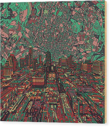 Austin Texas Vintage Panorama 3 Wood Print