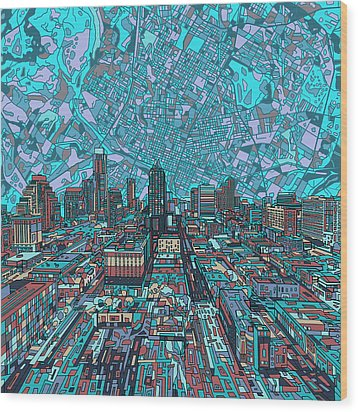 Austin Texas Vintage Panorama 4 Wood Print