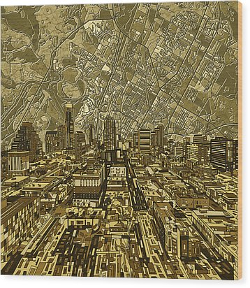 Austin Texas Vintage Panorama Wood Print