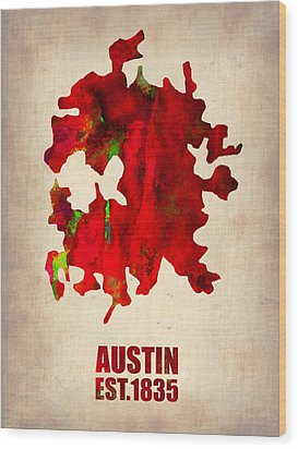 Austin Watercolor Map Wood Print by Naxart Studio