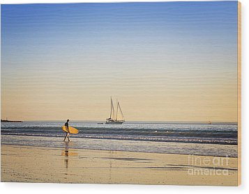 Australia Broome Cable Beach Surfer And Sailing Ship Wood Print by Colin and Linda McKie
