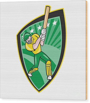 Australia Cricket Player Batsman Batting Shield Wood Print by Aloysius Patrimonio