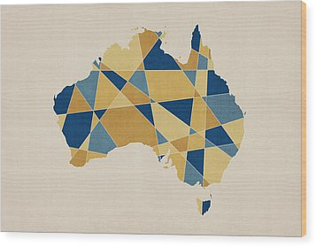 Australia Geometric Retro Map Wood Print by Michael Tompsett
