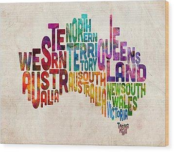 Australia Typographic Text Map Wood Print by Michael Tompsett