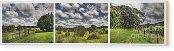 Australian Countryside - Floating Clouds Collage Wood Print by Kaye Menner