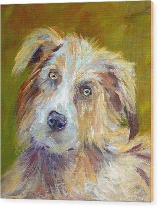 Wood Print featuring the painting Australian Shepherd by Carol Berning