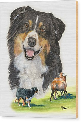 Australian Shepherd Herding Wood Print