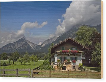 Austrian Cottage Wood Print by Debra and Dave Vanderlaan