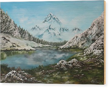 Wood Print featuring the painting Austrian Lake by Jean Walker