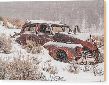 Wood Print featuring the photograph Auto In Snowstorm by Sue Smith