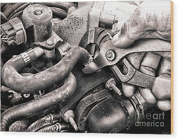 Auto Repair Wood Print by Olivier Le Queinec