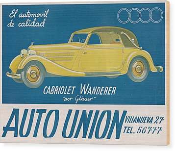 Auto Union Audi 1930s Usa Cc Cars Wood Print by The Advertising Archives