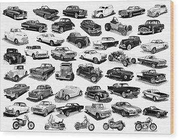 Automotive Pen And Ink Poster Wood Print by Jack Pumphrey