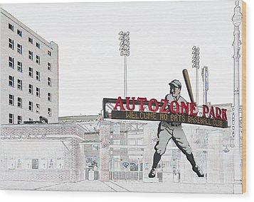 Autozone Park Memphis Wood Print