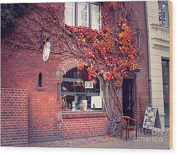 Wood Print featuring the photograph Autumal Facade With Ivy Autumn by Art Photography