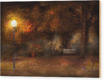Autumn - A Park Bench Wood Print by Mike Savad