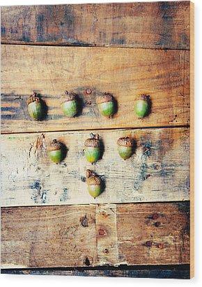 Autumn Acorns Wood Print by Kim Fearheiley